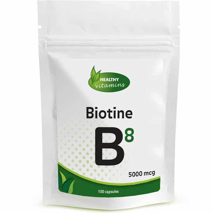 Biotine - 100 capsules - 5000mcg - Vitaminesperpost.nl
