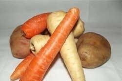 Wortel, aardappel en pastinaak